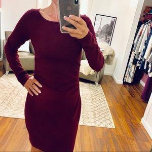 Loft Wine Knit Long Sleeved Dress Size XSP